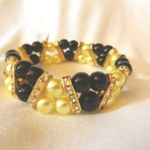 Bumble Bee  Beads Stretch Rhinestone Bracelet